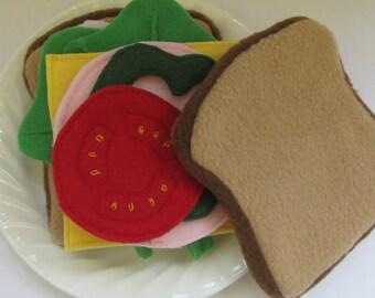 Fleece Food Sandwich - Made to Order - Play Kitchen - Pretend Sandwich Toy - Play Food - Montessori Toy - Felt Food Set