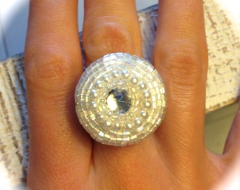 White Bead Button Wire Ring - Antique Button