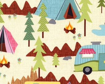 Camping Fabric-Cotton-Modern-Camping Scenic-Gender Neutral-Woodland-Tents-Forest-Trees-Camp Trailers-Campfire