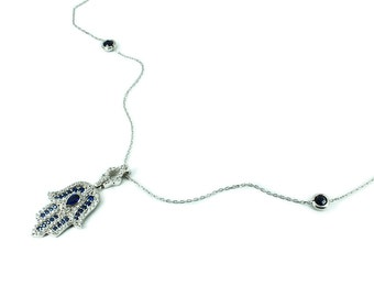 925 Silver Handmade Hand of Fatima Necklace Blue Free Shipping