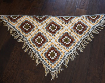 vintage triangular crocheted shawl