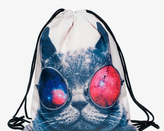 Galaxy Kitty Drawstring Backpack