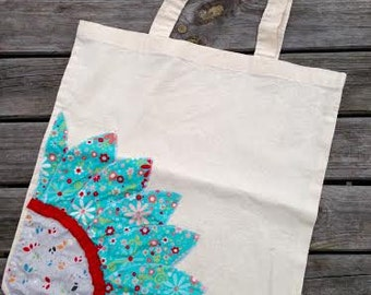 Lightweight Calico Appliqued Tote Bag