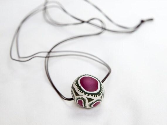 Chunky pendant, pendant, necklace, jewellery, polymer clay, pendant necklace, unique, bold, chunky, long, fimo, boho, funky, leather cord