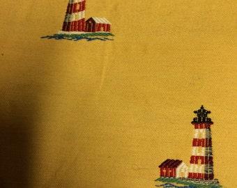 1 3/4 yds lighthouse upholstery fabric