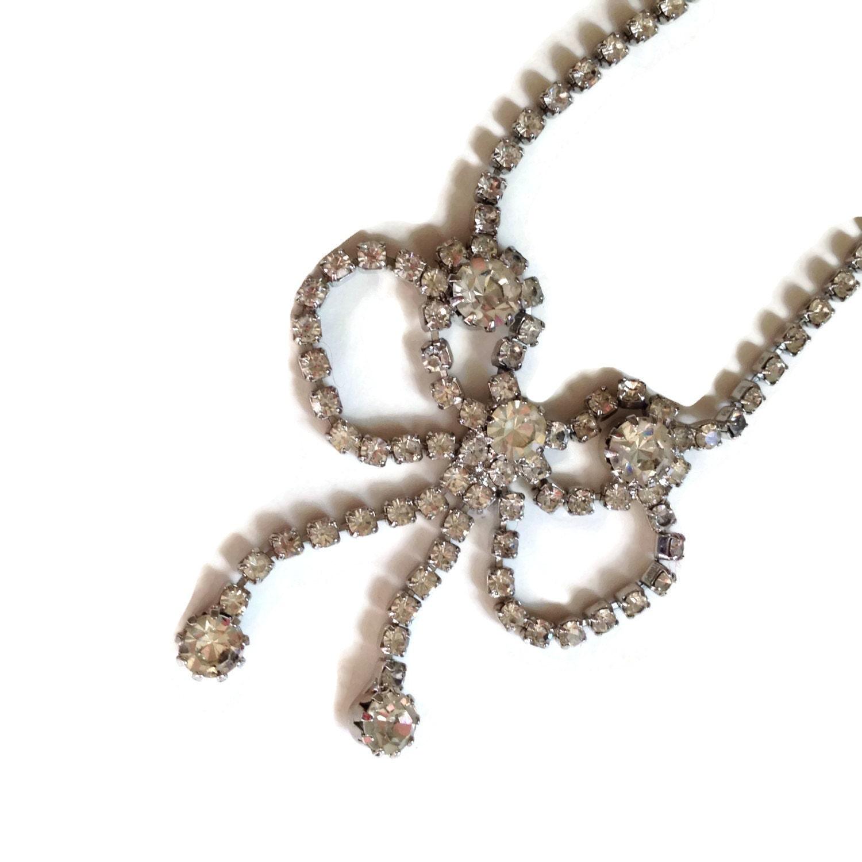 vintage rhinestone necklace dangling bow choker vintage