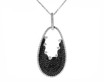 ID: 10060 Diamond (0.79ct) & Black Diamond (1.22ct) Pendant in 18K White Gold