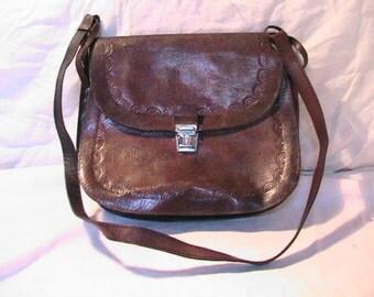Vintage 1960's Dark Brown Leather Handbag Shoulder bag