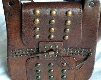 Vintage 1970's Handmade Dark Brown Leather Handbag