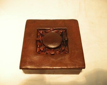 Vintage 1970's Handmade Dark Brown Leather Square Box - NEW