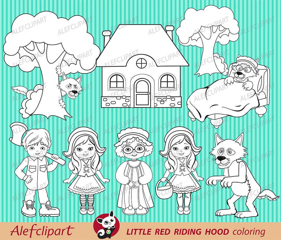 50 OFF SALE Little Red Riding Hood coloring clipart