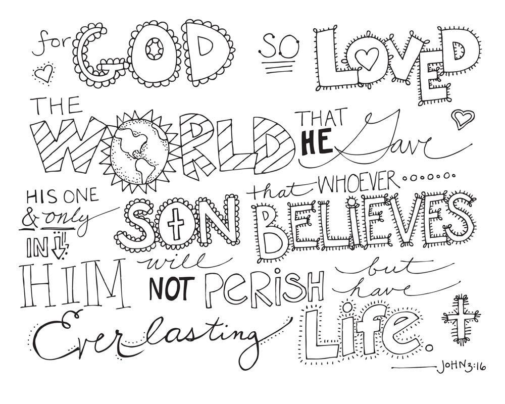 Bible Verse Coloring Page John 3 16 Printable By