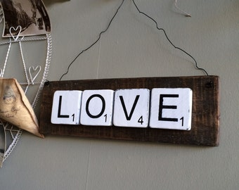 Rustic Scrabble Sign