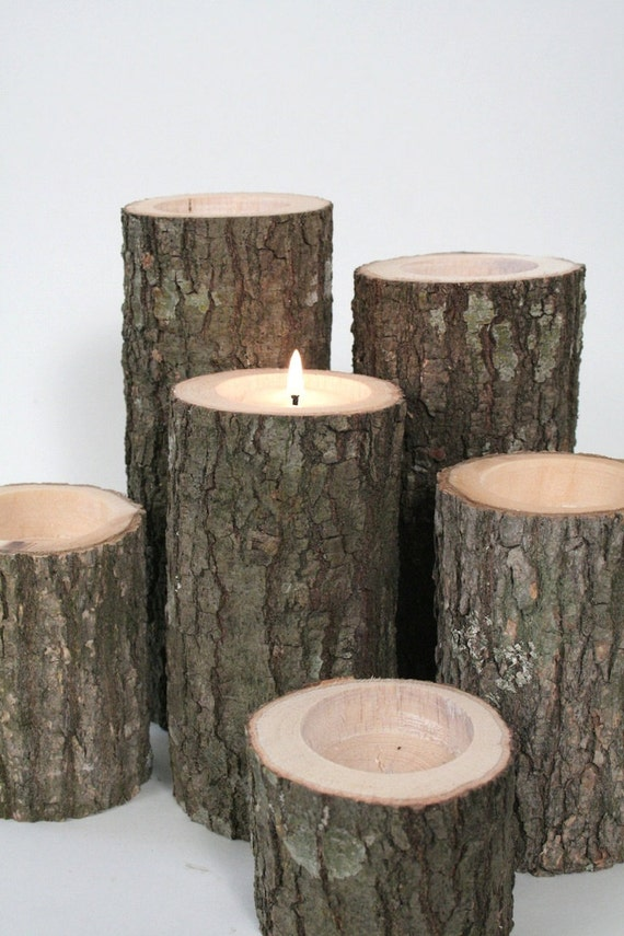 Candle log tea light holder 3 tall by manmadewoods on etsy for Log candle holder how to make