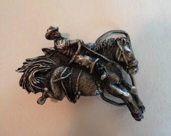 Vintage Bucking Bronco Belt Buckle by Bergomont Brass Works