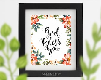 """Printable handwritten Quote """"GOD BLESS YOU"""" wall art Nursery decoration, Home decor, Printable quote wall art print instant download Poster"""