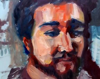 "FREE SHIPPING Original Oil Portrait ""Alex"""