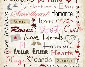 Valentines Day subway art 8x8, 8x10 & 12x12