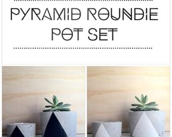 Concrete 'Pyramid Roundies' pot set of 2