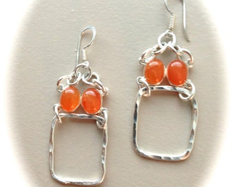 Silver Hammered Hoops and Carnelian Stone
