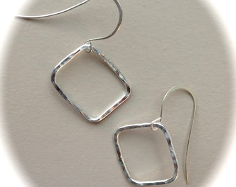 Silver Hammered Square Hoops