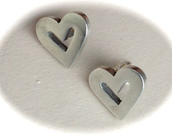 Sterling Silver Stud Heart Earrings-Size .5""