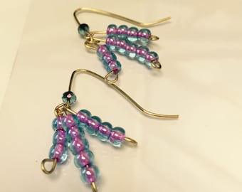 Purple Cluster Earring
