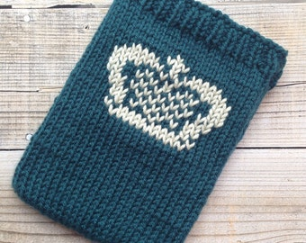 Blue teal tablet cosy sleeve sock with crown