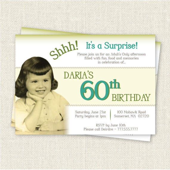 Surprise 60th Birthday Invitation Digital Printable File