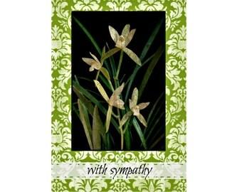 Sympathy Lillies Condolence Card, Sympathy Card