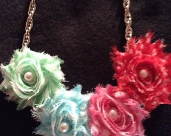 Necklace  with handmade  flowers adorned w pearls