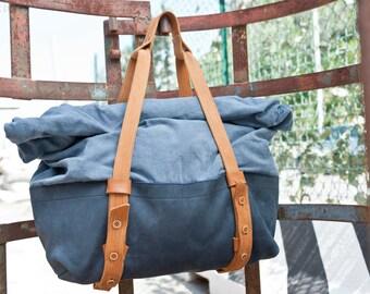 """Weekender/Rucksack (""""Weeksack"""")- in Twill & Leather TOP QUALITY"""