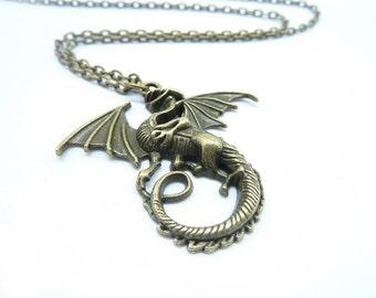 Promotion-1PCS Bronze Dragon Necklace / Brass Dragon Necklace / Fantasy Dragon Necklace / Fantasy Jewelry / Dragon Jewelry CN6329-2