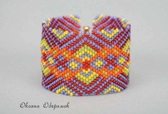 Ukrainian traditional bracelet Colorful bracelet Beaded cuff bracelet Beadwork jewelry Ethnic cuff