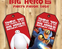 Big Hero 6 Party Favor Tags (Loot Bag Tags) - Happy Birthday - Printable - Instant Download