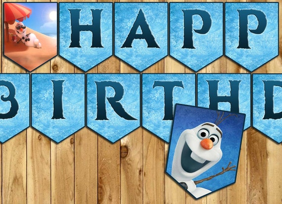 Olaf Birthday Banner - Download Customize Print - Olaf Happy Birthday Banner - Olaf Frozen Birthday Banner Includes all letters and numbers