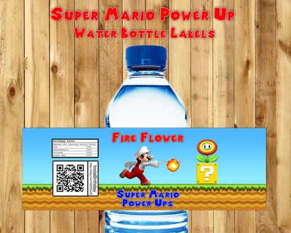 Super Mario Power Ups Water Bottle Labels Super Mario Water Bottle Wrappers download print Super Mario Water Bottle Labels Mario Birthday