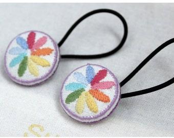 "Embroidered ponytail holder ""Rainbow"""