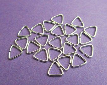 New 5mm 23ga 925 Sterling Silver Triangle Open Jump Rings Bails 12pcs