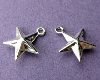 New 10mm x 10mm Silver Plated 3D Star Pendant Charm 10pcs