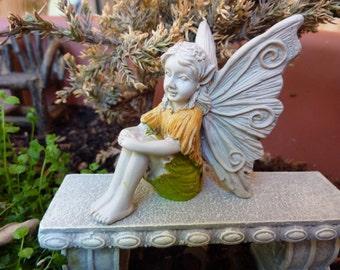 Miniature Garden Fairy -Faylinn - Girl Sitting with Arms around her Knees