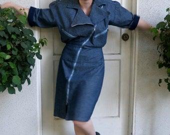 Vintage 1980s Denim Zippered Dress