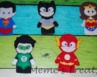 Set of 5 Hero Finger Puppets - Inspired by Justice League Heros