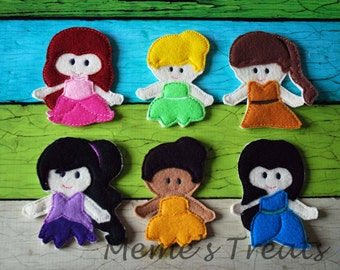 Set of 6 Finger Puppets - Inspired by Pixie Hollow Fairies
