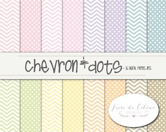 16 digital paper, Digital paper-CHEVRON & DOTS-pastel colors for delicate work and cakes!