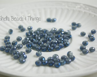 6mm Rondelle, Czech Glass Beads, Blue Beads, Faceted Beads, Small Beads, Jewelry Making Supply - 1 Strand = 100 Beads