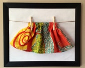 Colourful Handmade Girls skirt in African batik pattern, gorgeous ethnic print, gathered elastic waist, one of a kind!