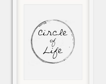 """Typographic Print """"Circle of Life"""",Motivational Quote,Inspirational Print ,Wall Decor,Typography,Instand Download,Inspirational Print,Typo"""