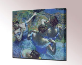 The Blue Dancers Canvas Print by Edgar Degas Framed Wall Art Picture Ready To Hang