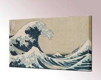 Great Wave Off Kanagawa Canvas Wall Art Print Picture Katsushika Hokusai Ready To Hang Decor